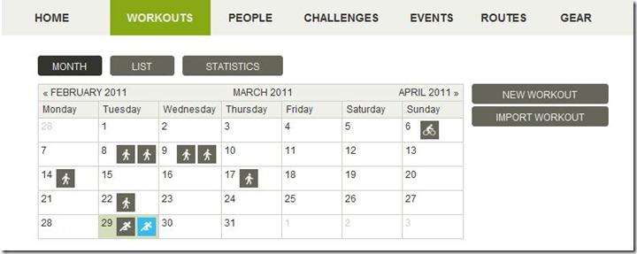 endomondo calendar